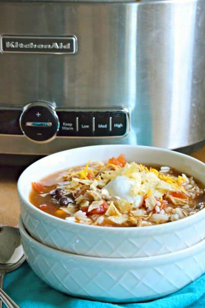 Slow Cooker Chicken Enchilada Soup Image