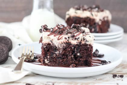 Mocha Oreo Poke Cake