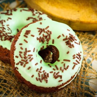 Baked chocolate mint doughnuts photo
