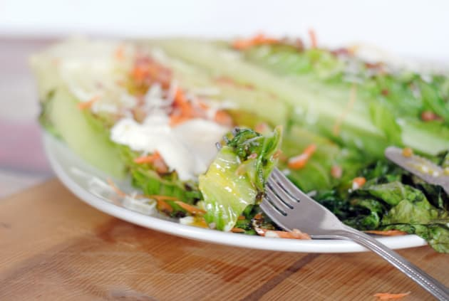 Grilled Romaine with Poached Eggs Image
