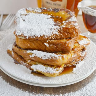 French toast with warm bourbon vanilla syrup photo