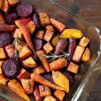 Oven Roasted Maple Balsamic Winter Veggies