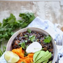 Cuban Black beans and baked sweet potato bowl