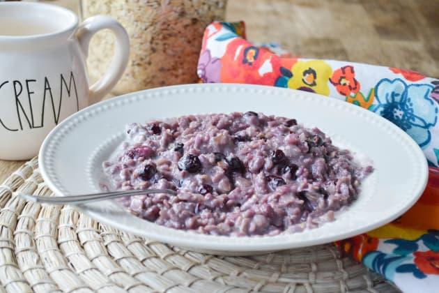 Blueberries and Cream Oatmeal Photo