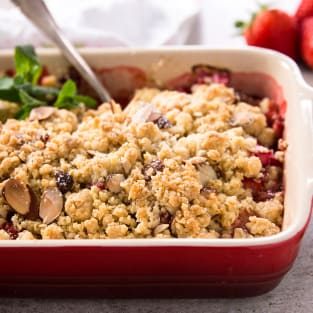 Strawberry rhubarb crisp with almonds photo