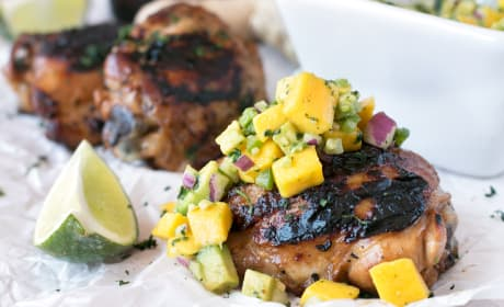 Spicy Ginger Grilled Chicken Thighs with Mango Avocado Salsa Recipe