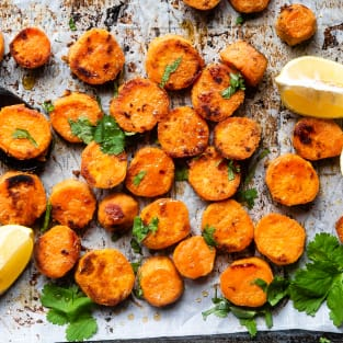 Roasted tahini maple sweet potatoes photo