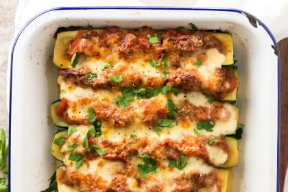 Italian Sausage Stuffed Zucchini Boats