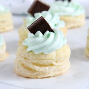 Mint chocolate puff pastry tartlets photo