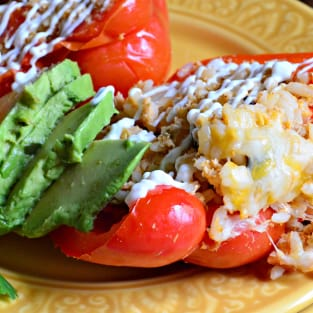 Slow cooker shredded chicken taco stuffed peppers photo