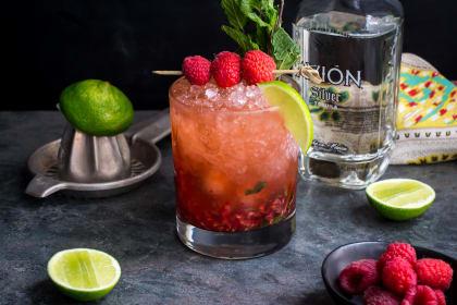 Raspberry Mint Tequila Smash
