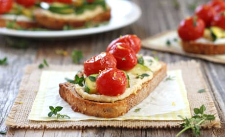 Roasted Zucchini and Tomato Crostini Image