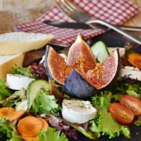 Fig and Goat Cheese Salad with Cacao Nib Praline