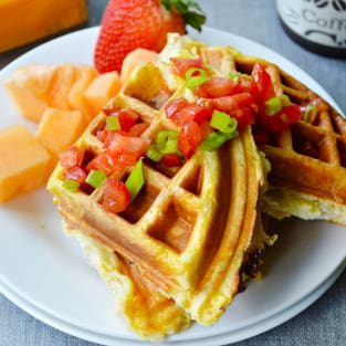 Egg and cheese waffle sandwiches photo
