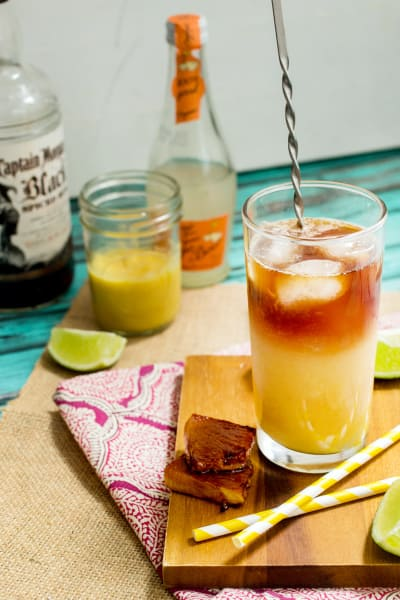 Pineapple Dark and Stormy Cocktail Image