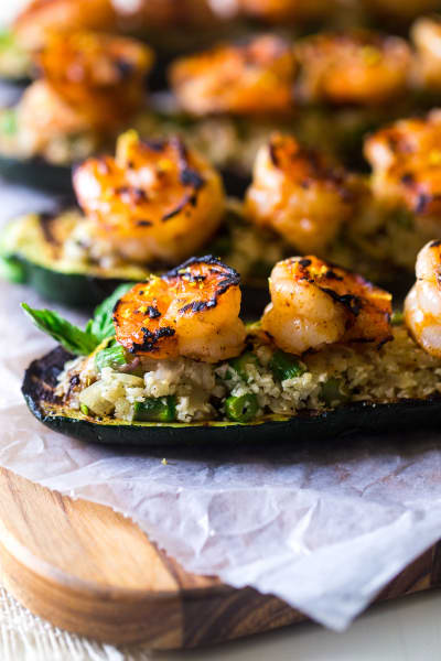 Grilled Stuffed Zucchini with Shrimp Image