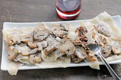 Short Rib Ravioli with Mushroom Sauce