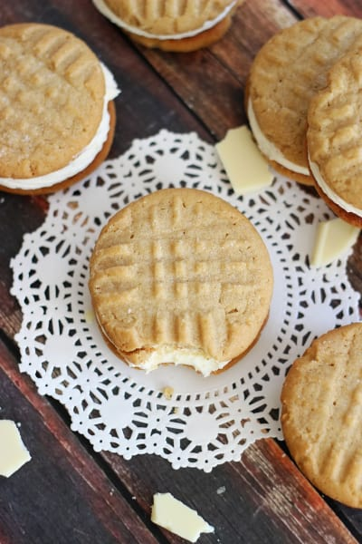 Peanut Butter White Chocolate Sandwich Cookies Picture