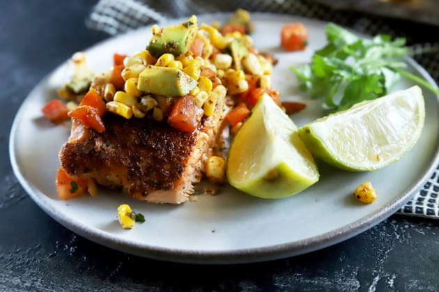 Grilled Salmon with Corn Avocado Salsa Photo