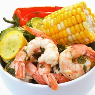 Sheet pan roasted shrimp and summer vegetables photo
