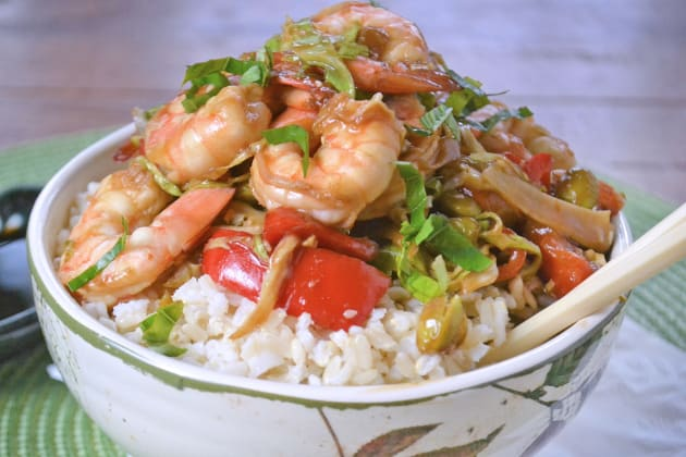Asian Shrimp Rice Bowls Photo