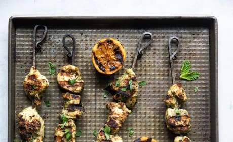 Grilled Herb Hummus Chicken Kebabs Pic