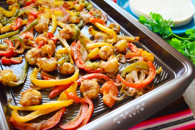 Sheet Pan Citrus Rock Shrimp Fajitas Image