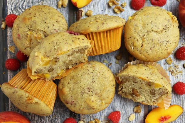 Gluten Free Nutty Vegan Peach Raspberry Muffins Photo