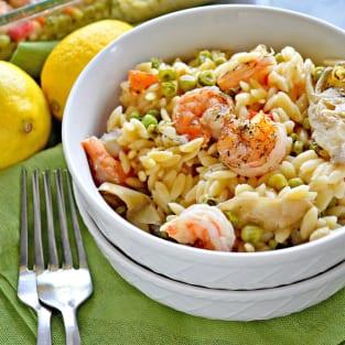 One pan lemon artichoke and shrimp orzo photo
