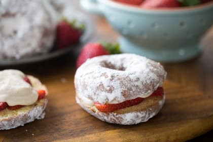 Strawberry Cream Cheese Donut Sandwiches