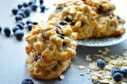White Chocolate Blueberry Oat Cookies