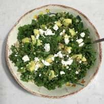 Quinoa Kale salad with Avocado, Feta and Lemon Balsamic Vinaigrette