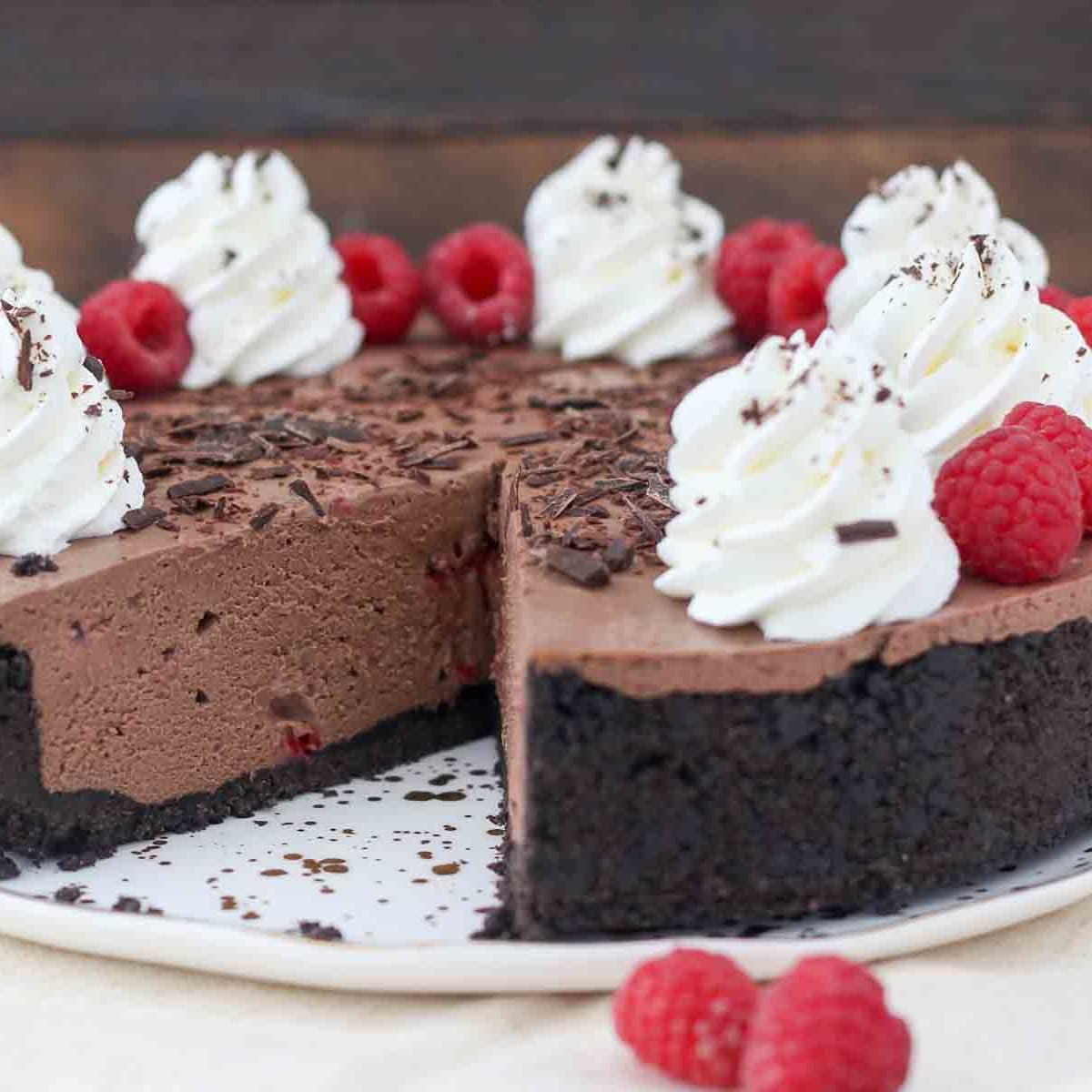 No Bake Chocolate Raspberry Cheesecake Recipe