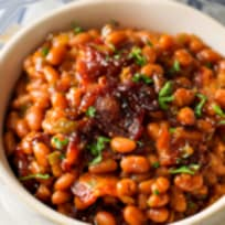 Homemade Baked Beans with Bacon For Breakfast