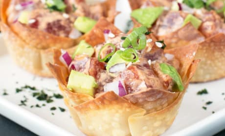 Spicy Tuna Poke and Avocado Wonton Cups Recipe