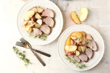 Apple Cider Pork Tenderloin with Potatoes and Apples