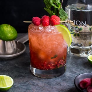 Raspberry mint tequila smash photo