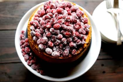 Cranberry Eggnog Cheesecake
