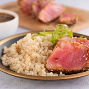 Seared ahi tuna steaks photo