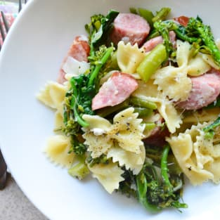 Broccoli pasta with kielbasa photo