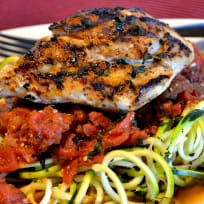 Grilled Garlic Chicken Over Zoodles