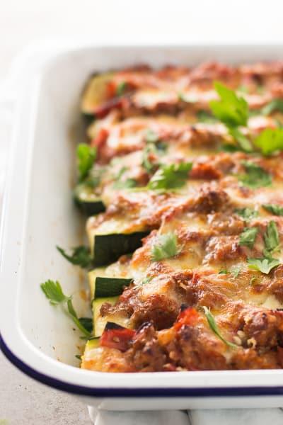 Italian Sausage Stuffed Zucchini Boats - Food Fanatic