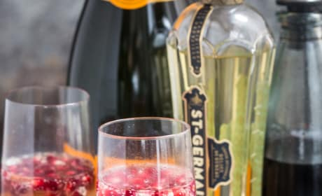 St. Germain and Pomegranate Champagne Cocktail Image