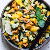 Thai Mango Avocado Salad with Grilled Sweet Potatoes Recipe