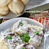 Creamed Dried Beef Over Biscuits