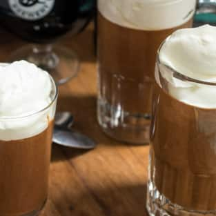 Chocolate stout mousse with whiskey cream photo