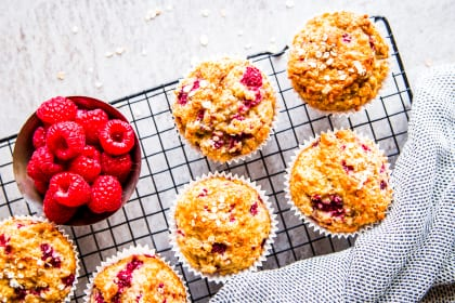 Gluten Free Raspberry Oatmeal Muffins