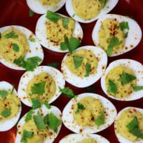 Deviled Eggs with Yellow Lentil Hummus Recipe