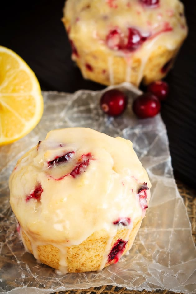 Glazed Lemon Cranberry Muffins - Food Fanatic