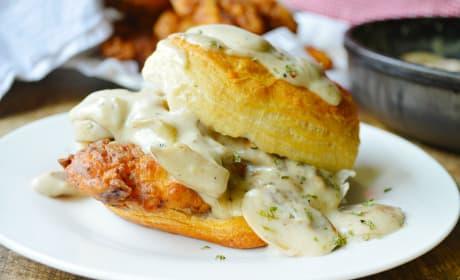 Chicken Biscuits with Mushroom Gravy Photo